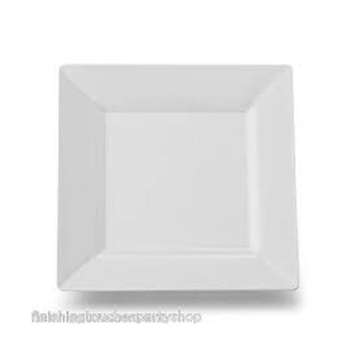 "7"" Plastic Square Plate White 10-Pack"