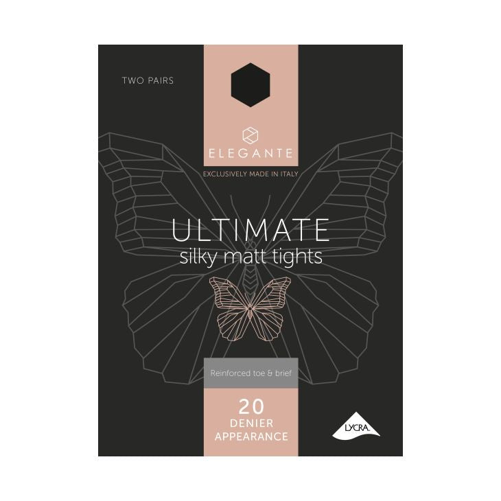 Elegante Ultimate 20 Denier Silky Matt Black Tights (S) x 2