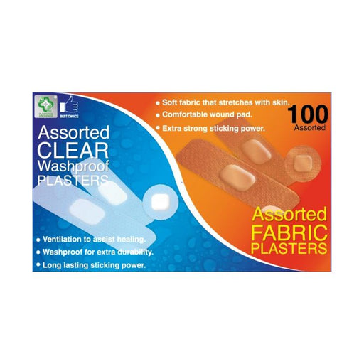 A&E Assorted Washproof & Fabric Plasters 100-Pack