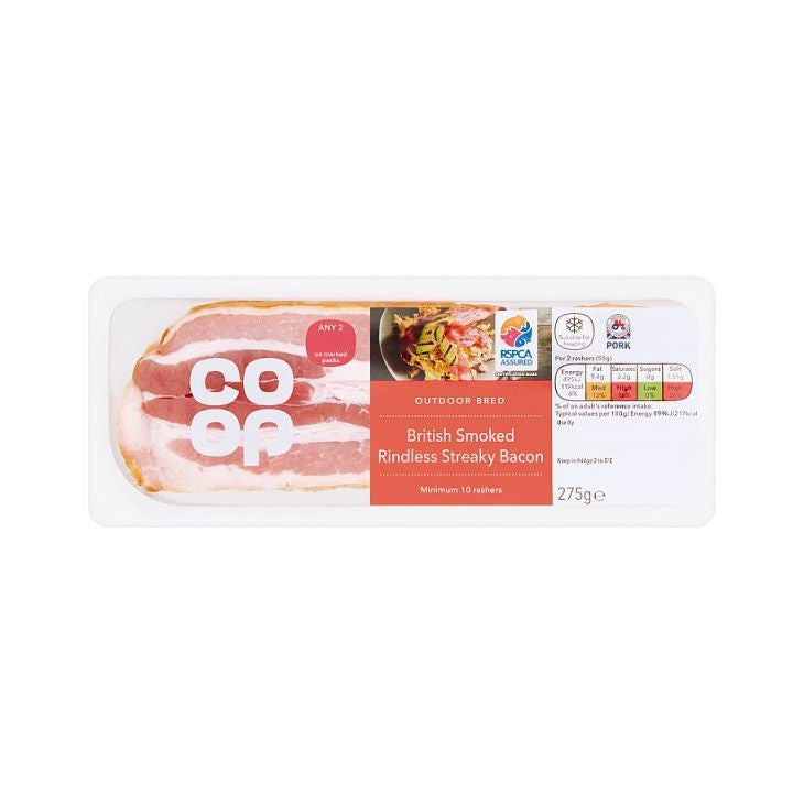 Co-op Smoked Streaky Bacon 275g