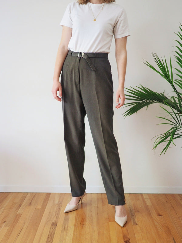 Vintage Sage Green High Waisted Pants