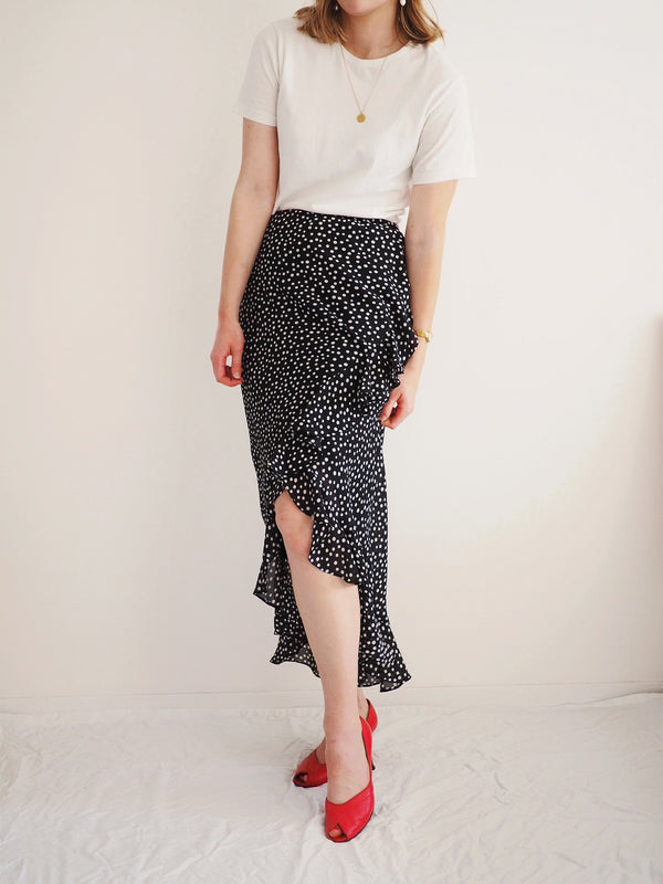 Vintage Polka Dot Ruffled Skirt