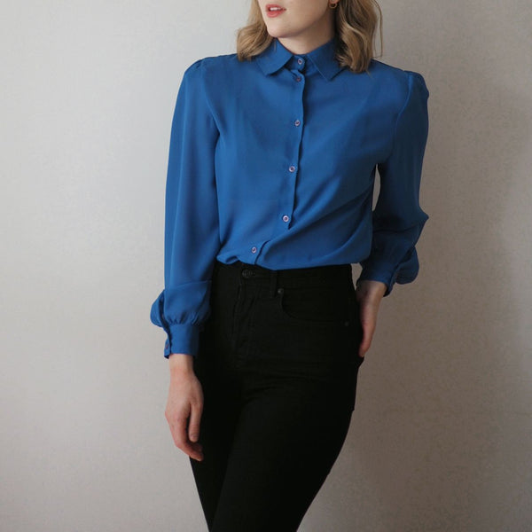 Vintage True Blue Long Sleeve Blouse