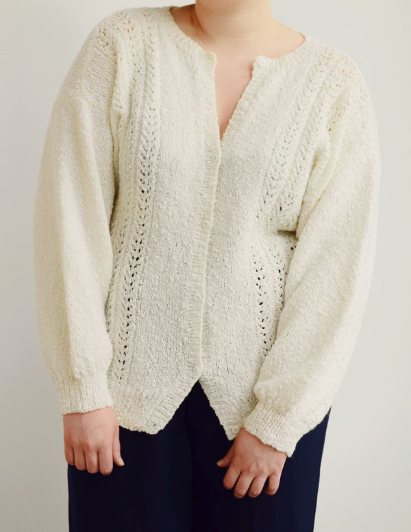 Vintage White Textured Knit Cardigan