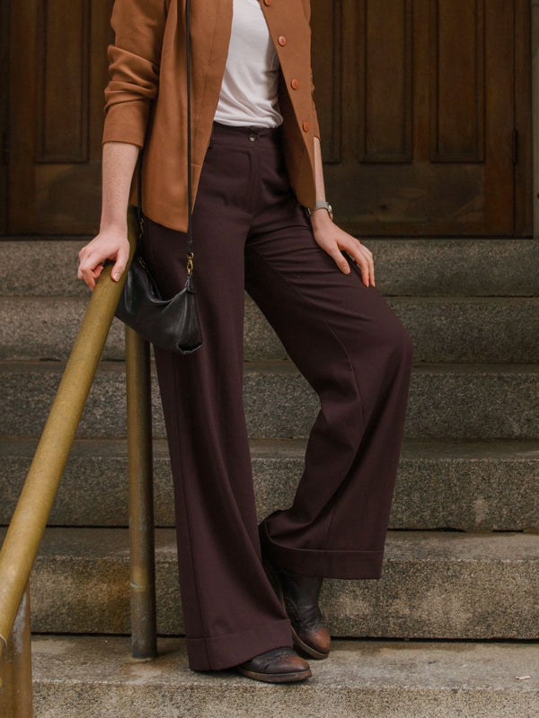 Vintage Mahogany Brown Wide Leg Pants