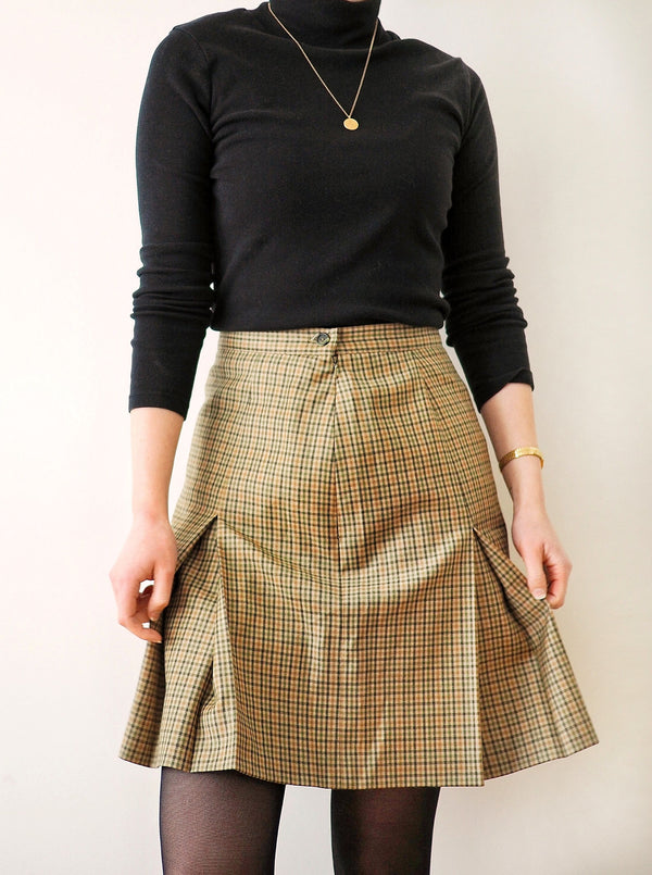 NWT Vintage Plaid Mini Godet Skirt