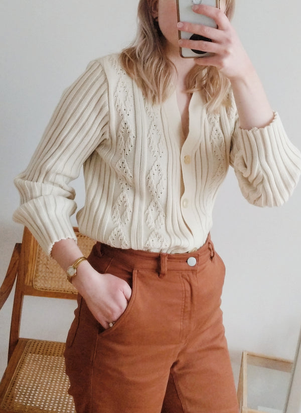 Vintage Ribbed Button Down Cardigan