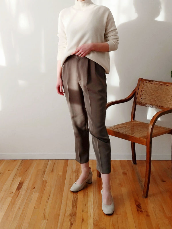 Vintage High Waisted Grey Cigarette Pants