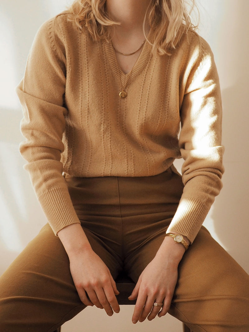 Vintage Tan Wool V-Neck Sweater
