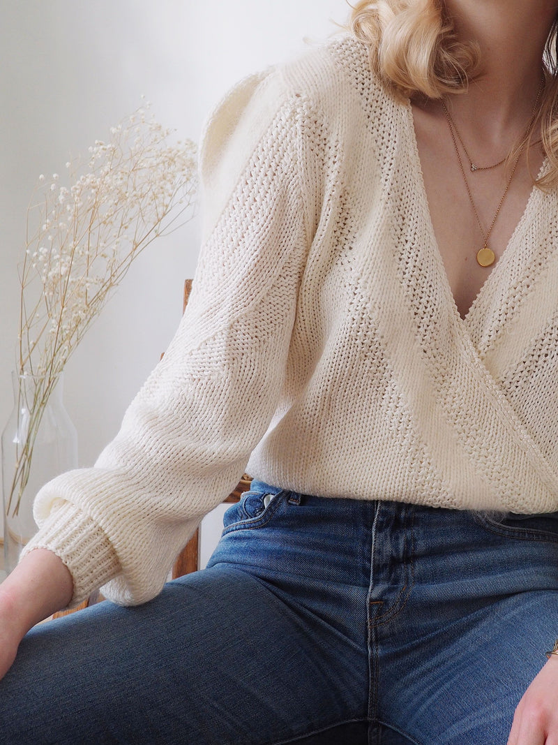 Vintage Alabaster Wrap Sweater