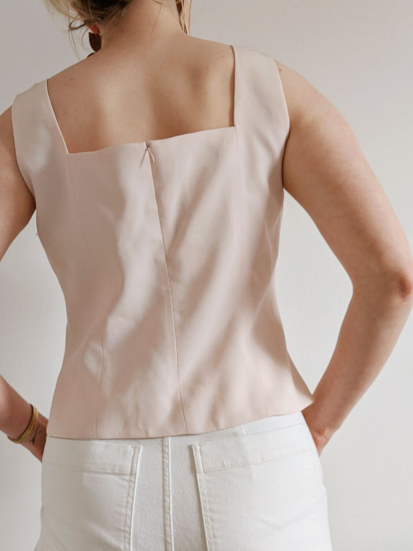 Vintage Pale Pink Square Neck Top