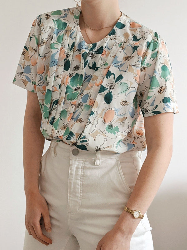 Vintage Abstract Floral Patterned Short Sleeve Blouse