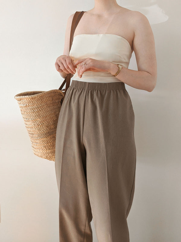 Vintage Taupe High Waisted Easy Pants