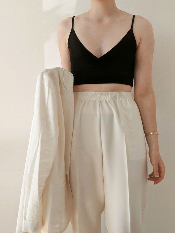 Vintage Ivory High Waisted Easy Pants