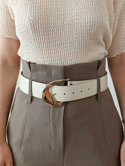 Vintage White Leather Belt with Silver Buckle