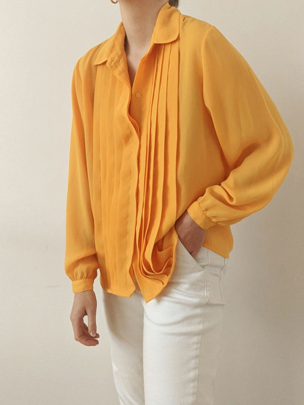 Vintage Honey Yellow Button-Up Blouse