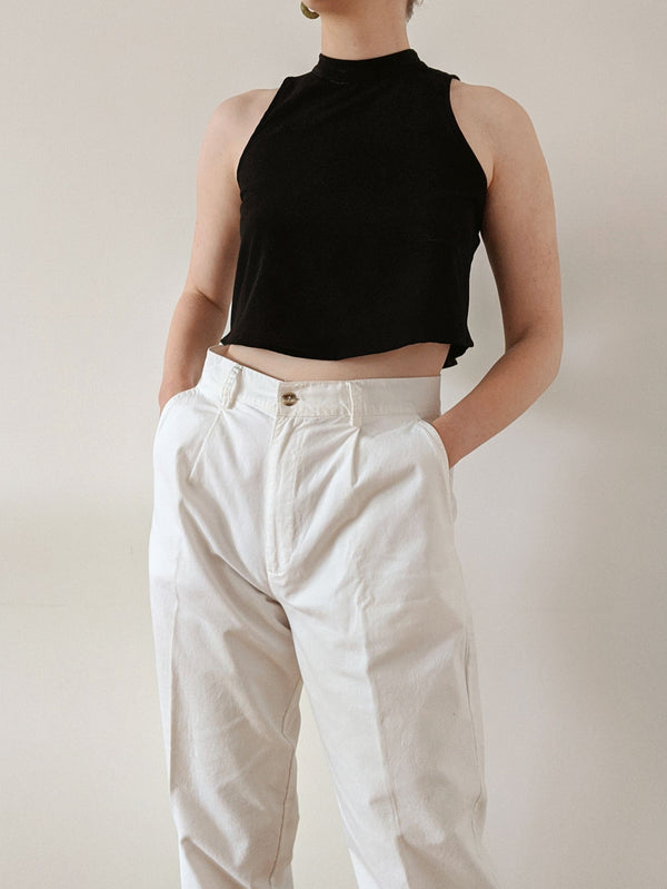 Vintage White Cotton High Waisted Pants (M/L)