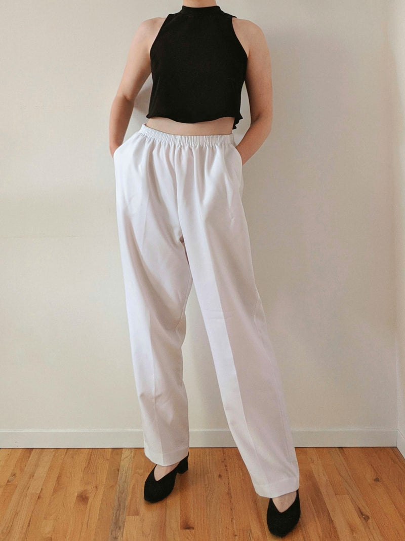 Vintage White High Waisted Easy Pants (L)