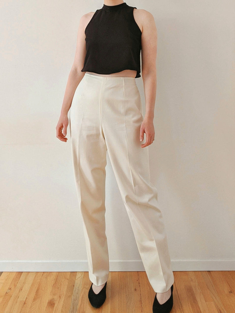Vintage Ivory High Waisted Straight Leg Pants (M)