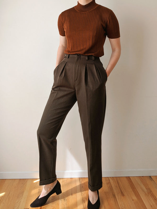 Vintage Dark Green Pleated Pants (XS)