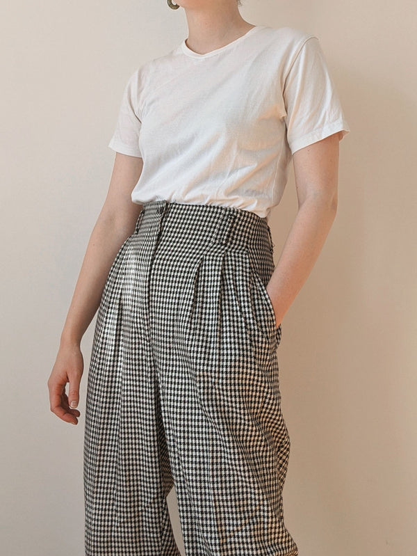 Vintage Pleated Houndstooth Pants (L)