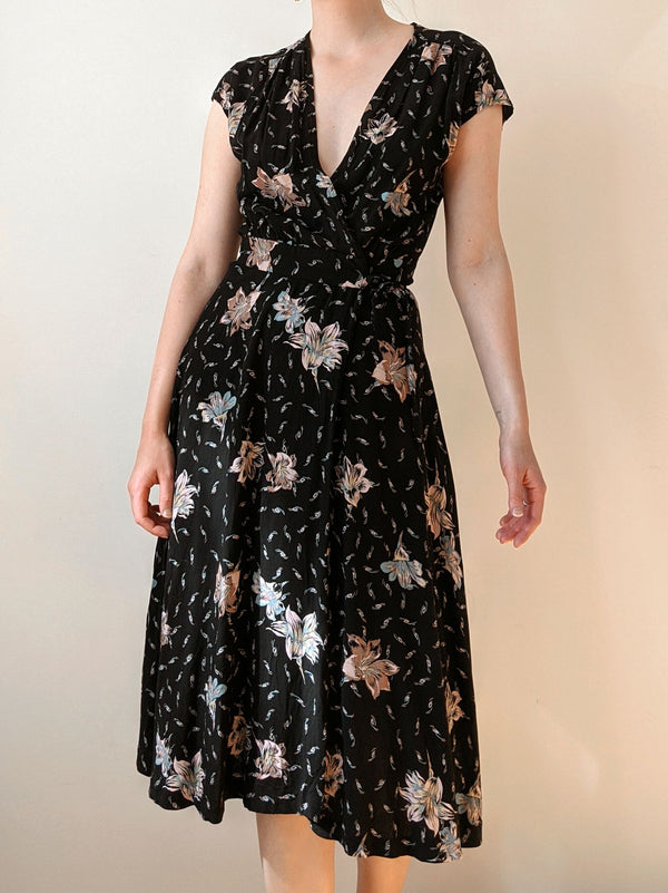Vintage Black Floral Wrap Dress (S)