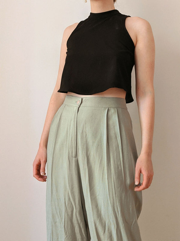 Vintage Fern Green Pleated Pants (L)