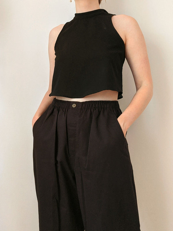 Vintage Black Cotton Easy Pants (M)