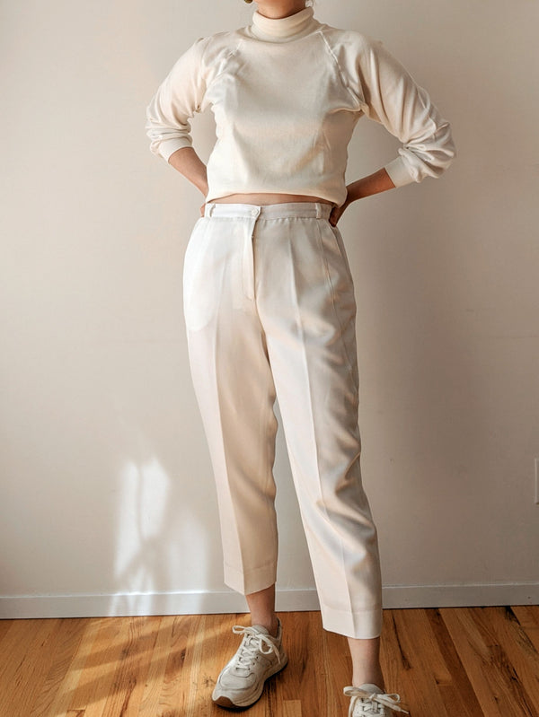 Vintage White High Waisted Cigarette Pants (S/M)