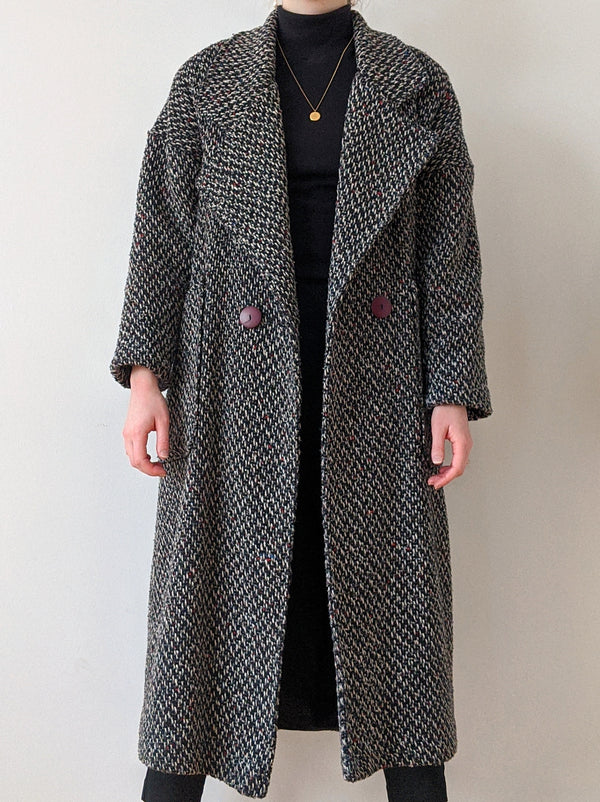 Vintage Textured Knit Coat