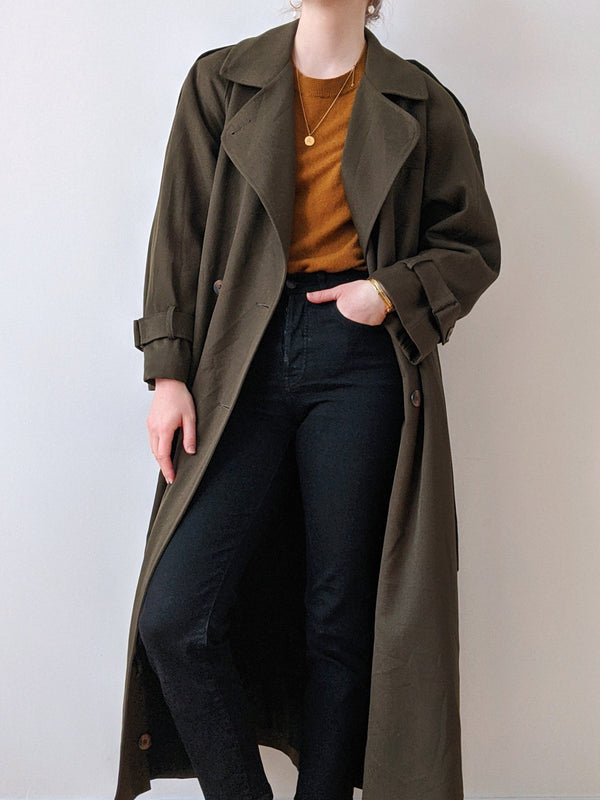 Vintage Army Green Trench Coat
