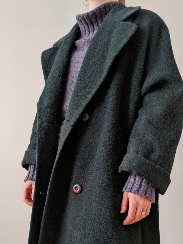 Vintage Hunter Green Alpaca Wool Coat