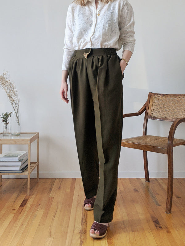 Vintage Army Green High Waisted Pants