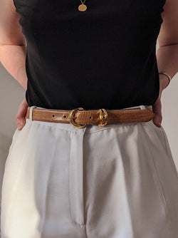 Vintage Double Ring Leather Belt