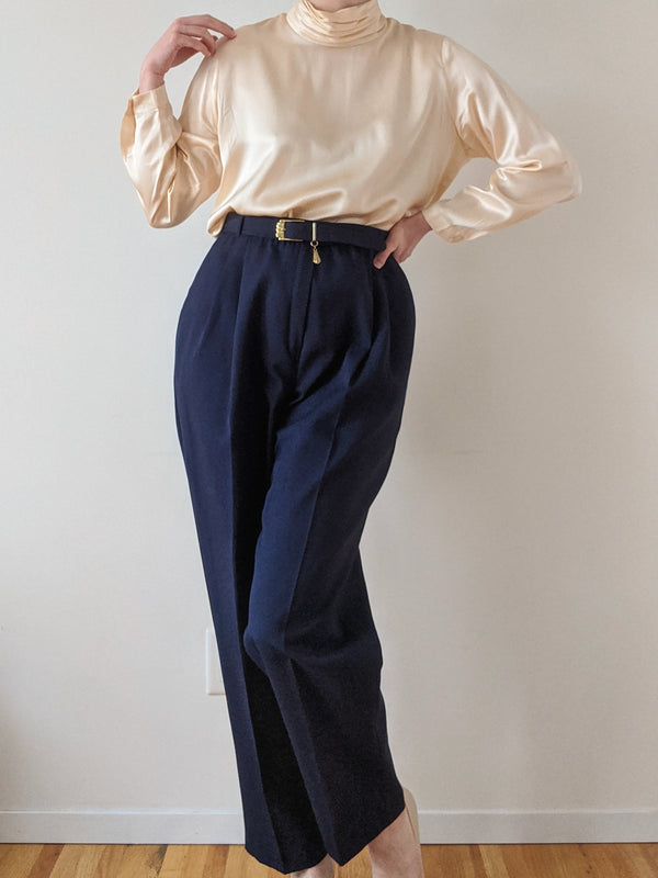 Vintage Navy High Waisted Pants with Belt