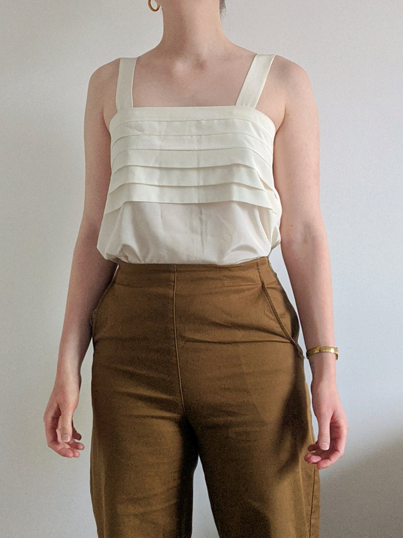 Vintage White Square Neck Tank