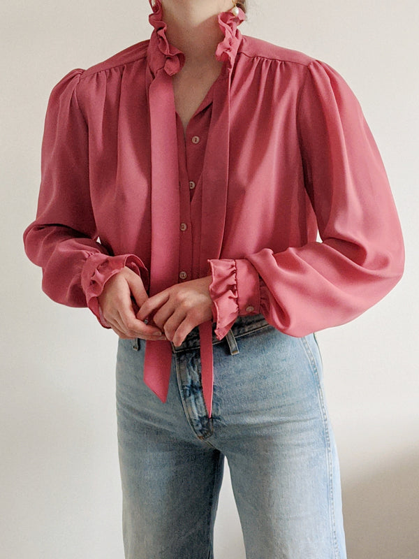 Vintage Dusty Rose Ruffle Tie Neck Blouse