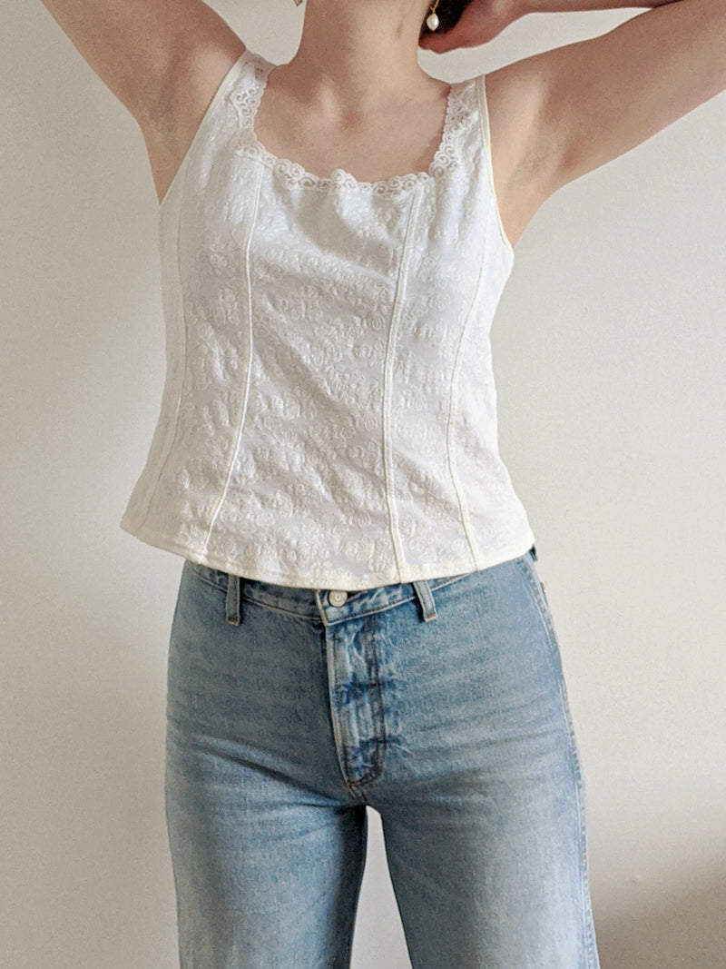 Vintage White Tank with Lace Details