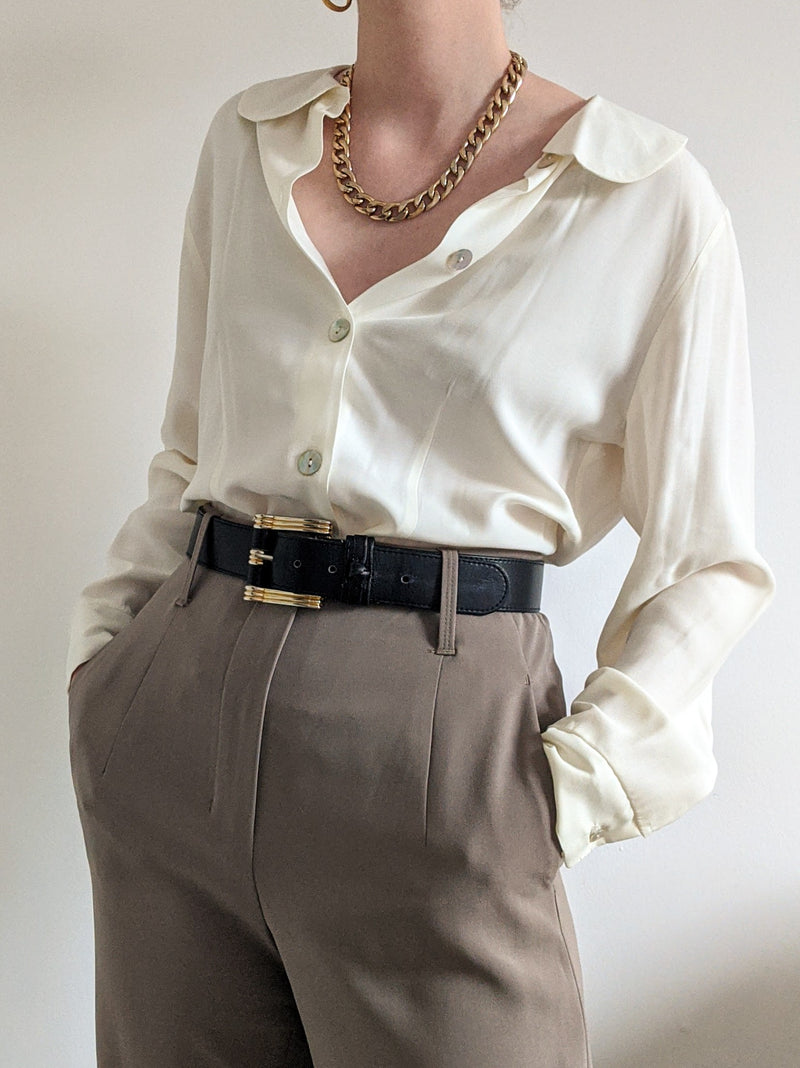 Vintage White Blouse with Round Collar