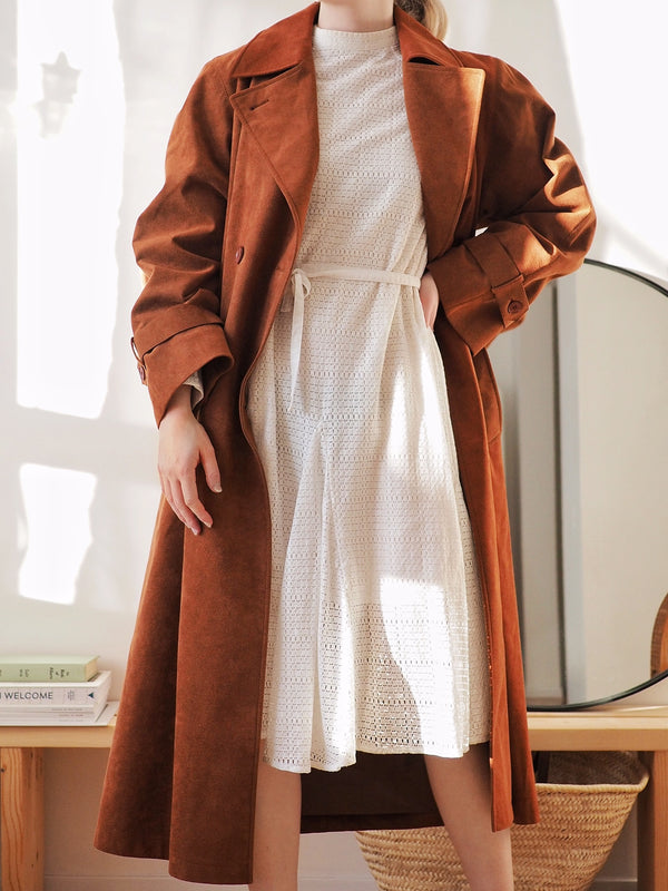 Vintage Rust Faux Suede Trench Coat