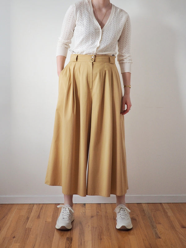 Vintage Flax Yellow High Waisted Culottes