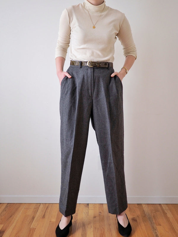 Vintage High Waisted Grey Wool Pants