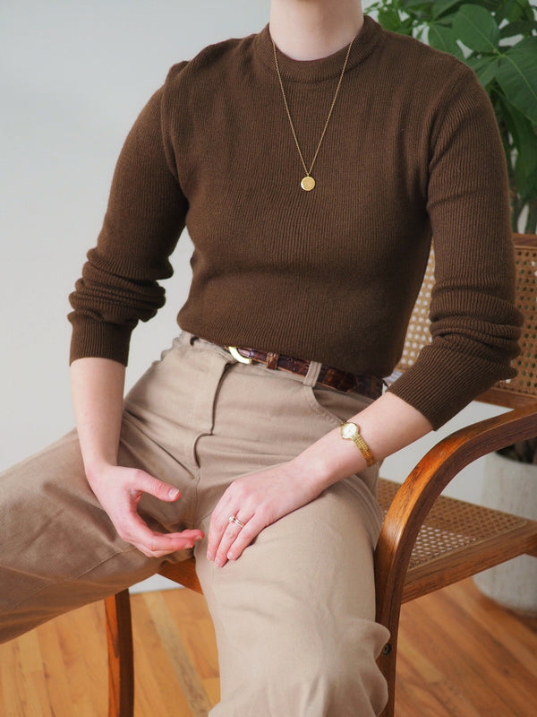 Vintage Coffee Ribbed Crewneck