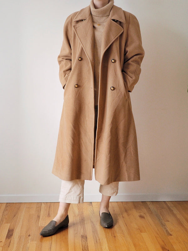 Vintage Long Wool Camel Coat