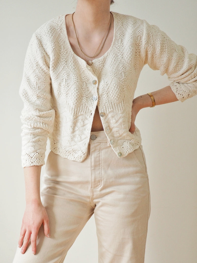 Vintage Off-White Cotton Knit Cardigan