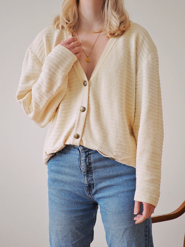 Vintage Ivory Ribbed Cotton Cardigan