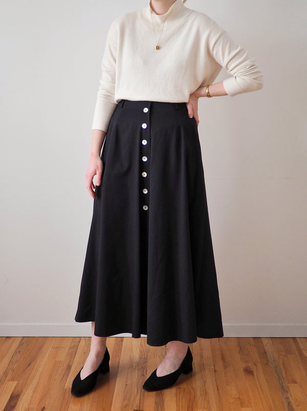 Vintage Black Button-down A-line Skirt