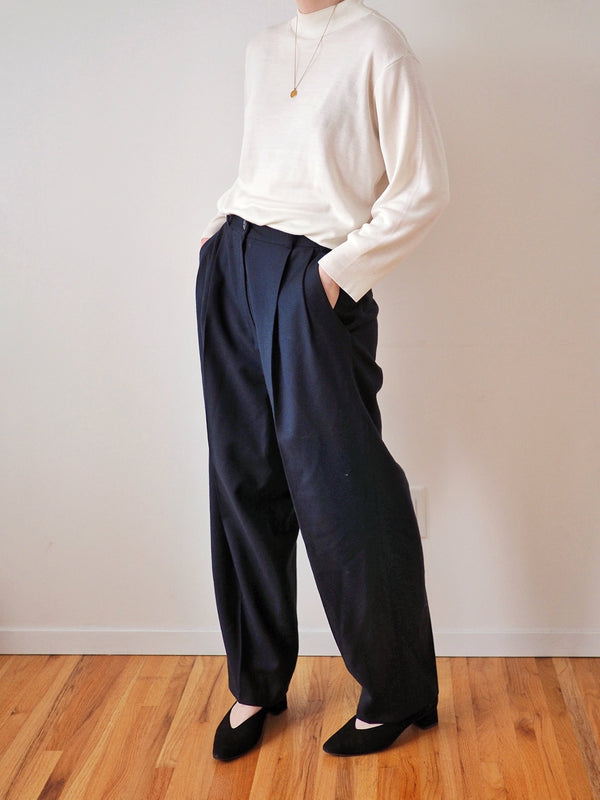 Vintage High Waisted Navy Straight Leg Pants
