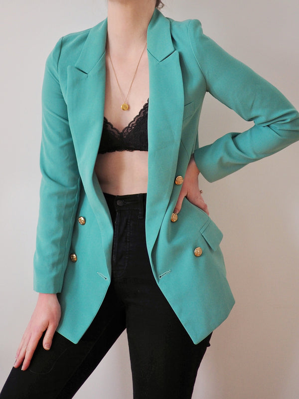 Double-Breasted Teal Blazer