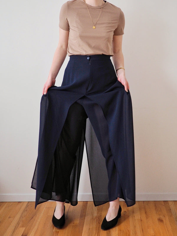 Vintage Navy Wide Leg Pants with Sheer Panels